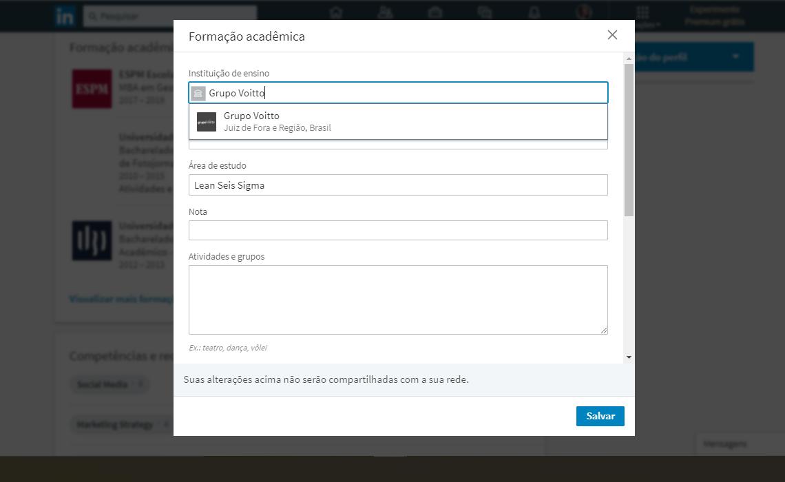 captura de tela linkedin
