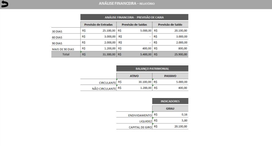 Aba de Relatório da planilha de Mapa de Análise Financeira.