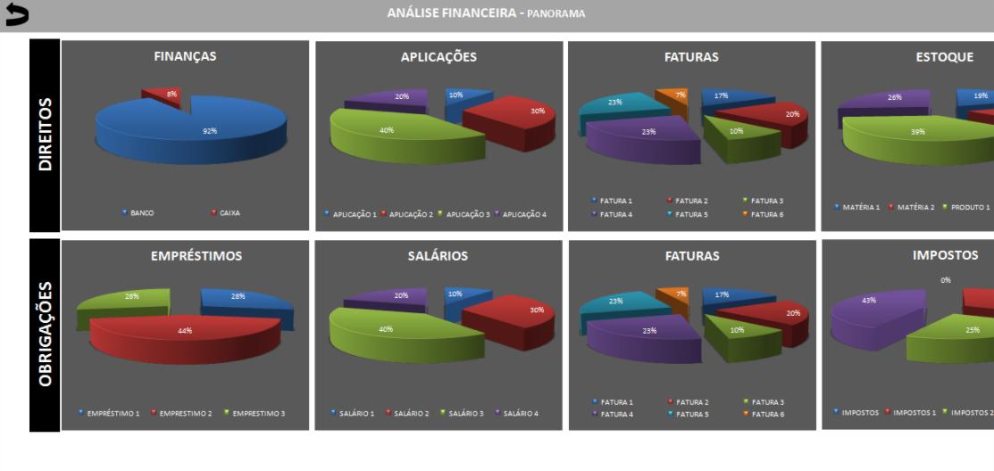 Aba de Panorama da planilha de Mapa de Análise Financeira.